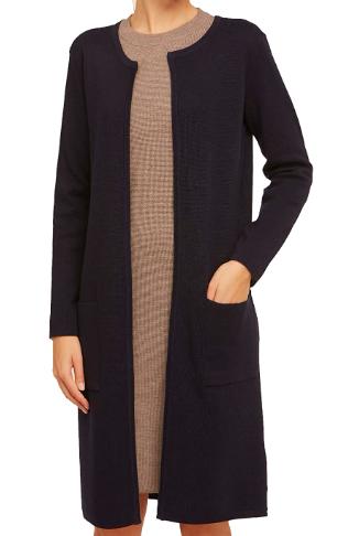 Shopping abbastanza sobrio per l'Autunno Inverno 2020 cardigan lungo nero lana merino